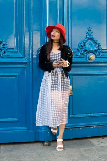 PARIS, FRANCE - OCTOBER 1: Fashion Blogger Thythy Nguyen wears a vintage jacket, Rare London dress, Topshop shoes and hat and a Max London bag on day 3 during Paris Fashion Week Spring/Summer 2016/17 on October 1, 2015 in London, England. (Photo by Kirstin Sinclair/Getty Images)*** Local Caption *** Thythy Nguyen