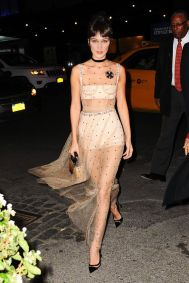 Bella Hadid looking stunning in a sheer Dior dress as she heads out in NYC Pictured: Bella Hadid Ref: SPL1381035 251016 Picture by: JENY / Splash News Splash News and Pictures Los Angeles:310-821-2666 New York:212-619-2666 London:870-934-2666 photodesk@splashnews.com